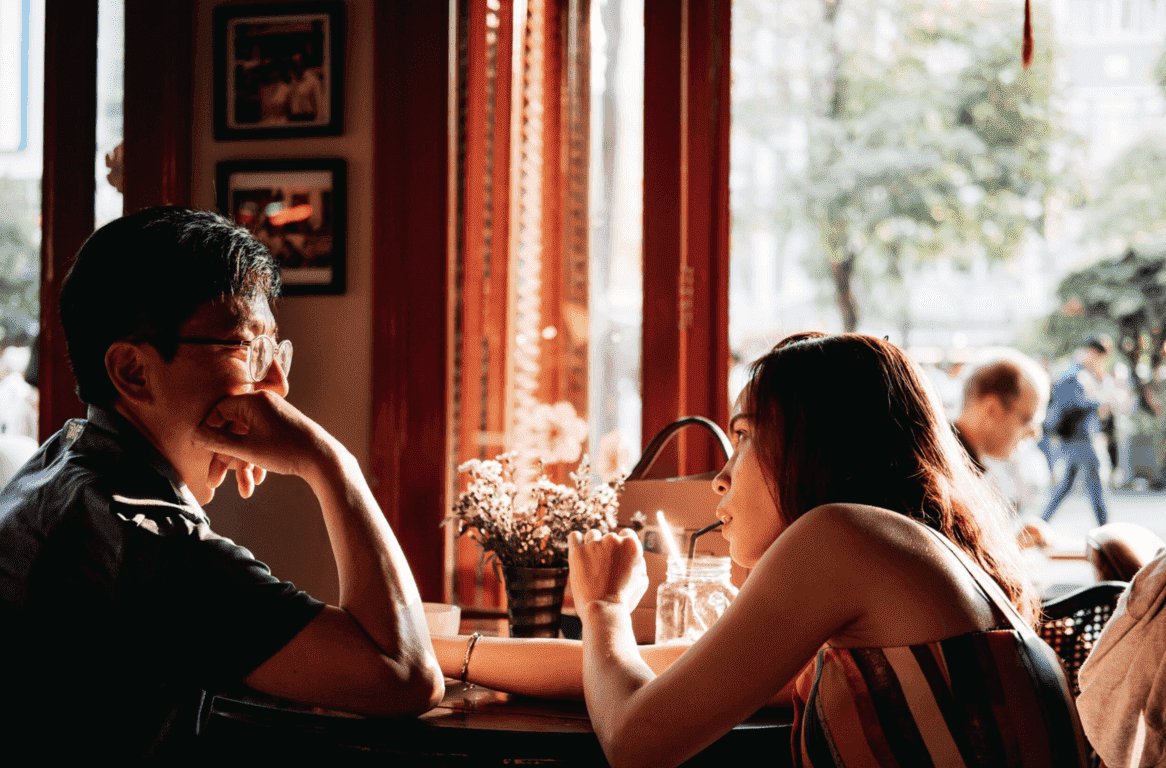 Asian singles dating in a café