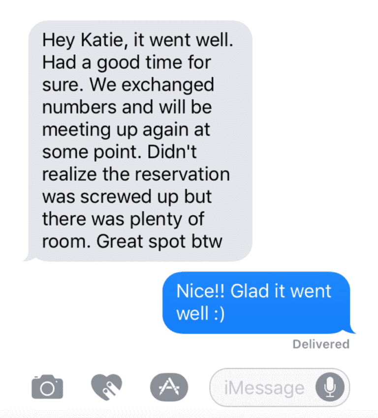 Mobile message testimonial for Katie Brandt