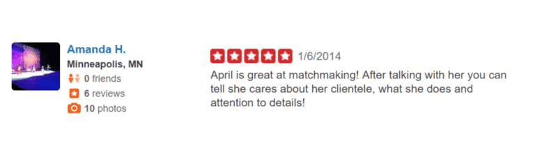 Yelp testimonial for April Davis
