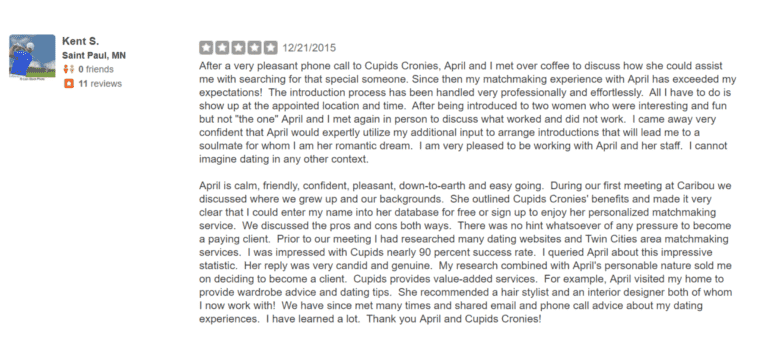 Yelp testimonial for luma luxury matchmaking